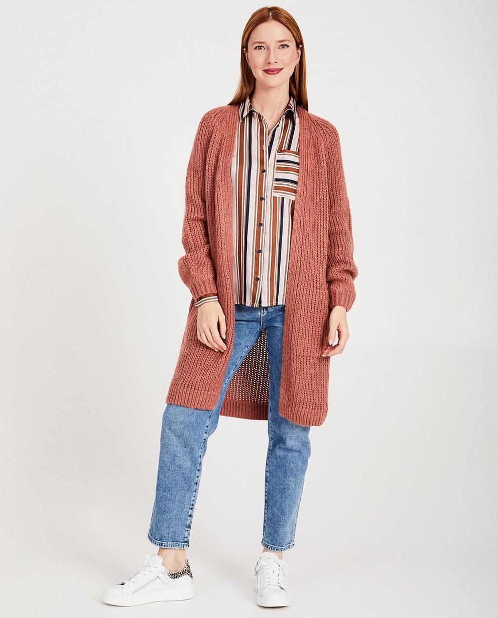 Cardigan rose foncé Karen Damen - tricot à grosses mailles - Karen Damen