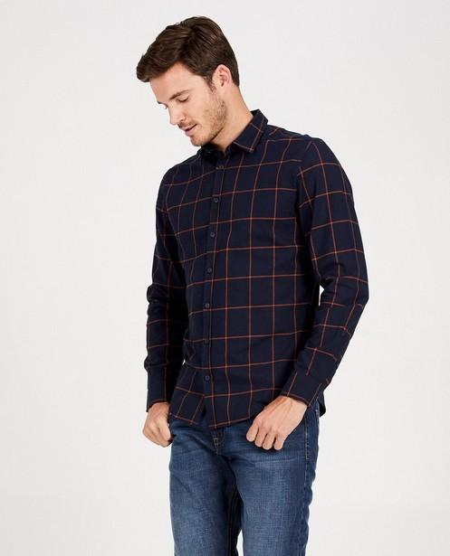 Hemden - Donkerblauw hemd met ruit