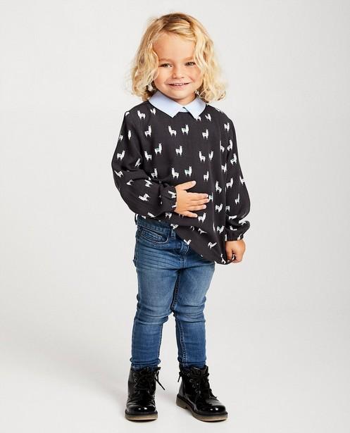 Donkergrijze blouse met print - allover print - JBC