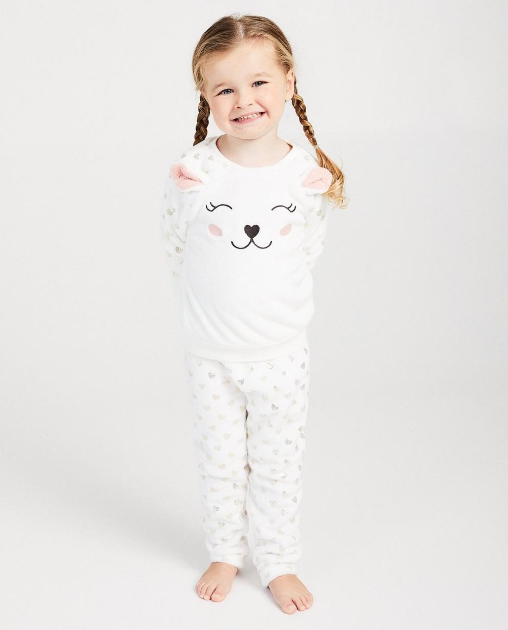 Pyjama blanc à petits cœurs - fausse fourrure douce - JBC