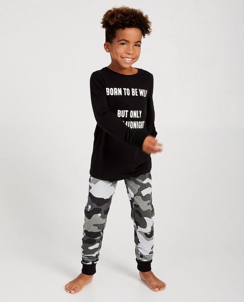 Pyjama noir 2 pièces - imprimé camouflage - JBC