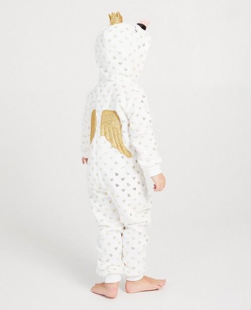 Witte hartjes onesie - glitter - JBC