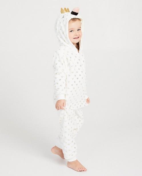 Nachtkleding - Witte hartjes onesie