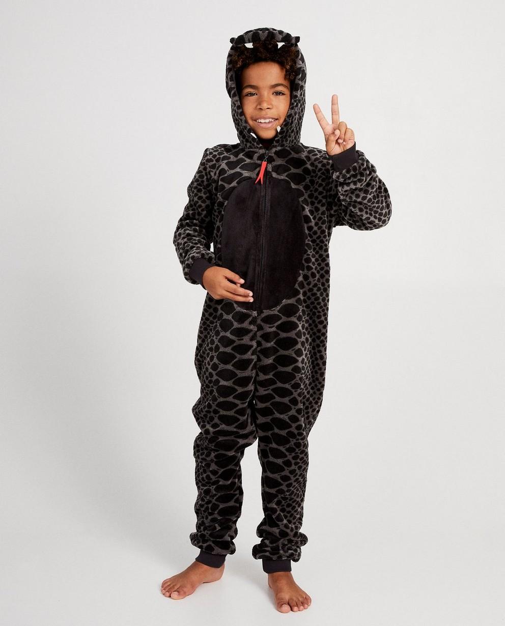 Zwarte slang onesie - van fleece - JBC NL