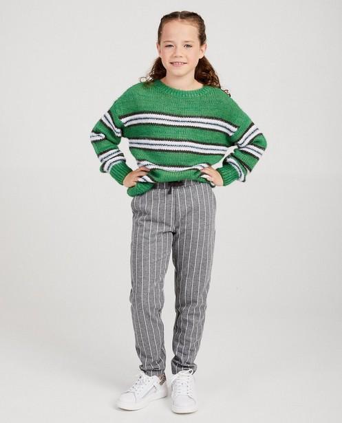 Groene trui met strepen - van grove brei - JBC
