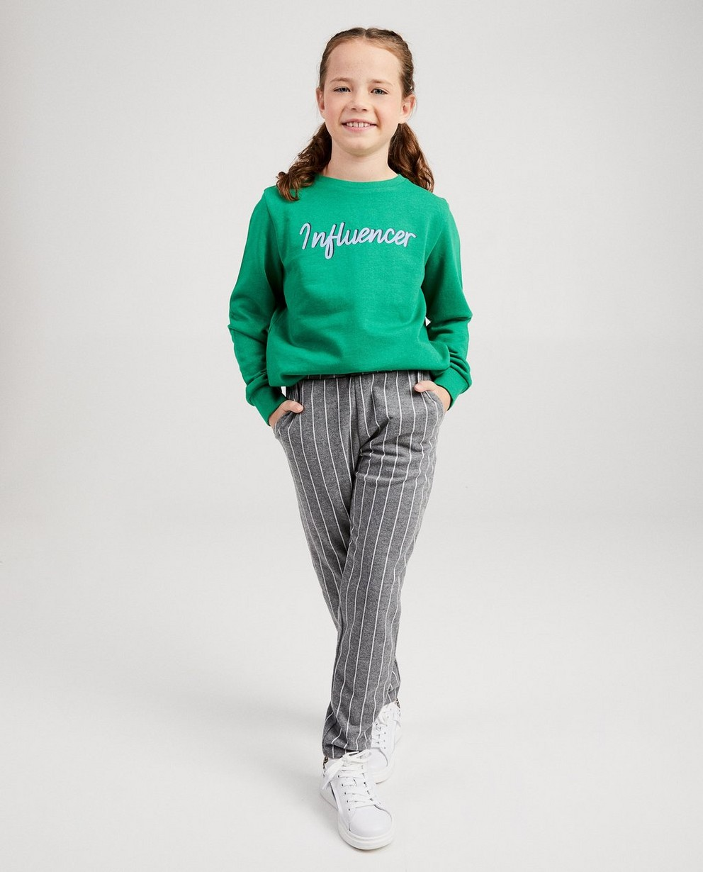 Sweater met opschrift - in groen - JBC
