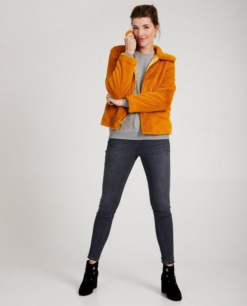 Okergeel jasje van faux-fur Sora - kort model - Youh!