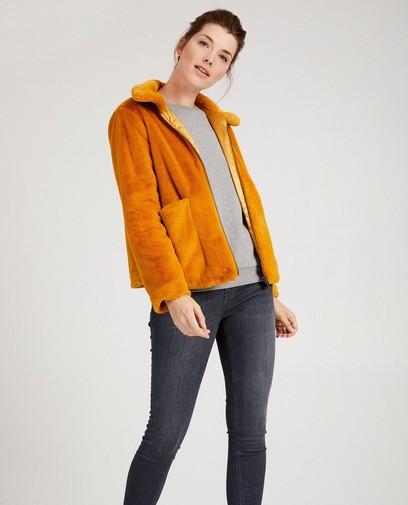 Okergeel jasje van faux-fur Sora