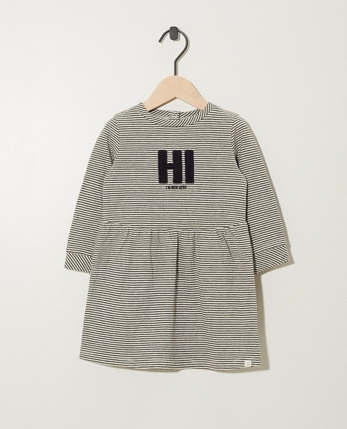 Robe «Hi I'm new here» - rayée - Newborn