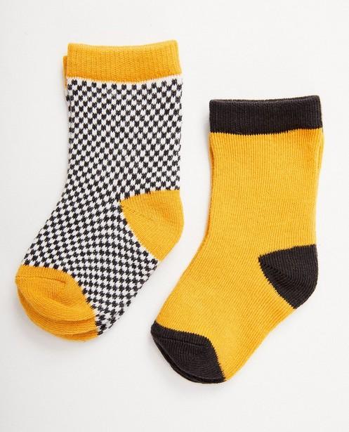 2 paires de chaussettes imprimées - jaunes, blanches et noires - JBC