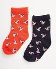 2 paires de chaussettes pour bébés - imprimé, rouges et bleues - JBC