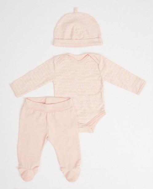 Ensemble 3 pièces coton bio - rose - Newborn