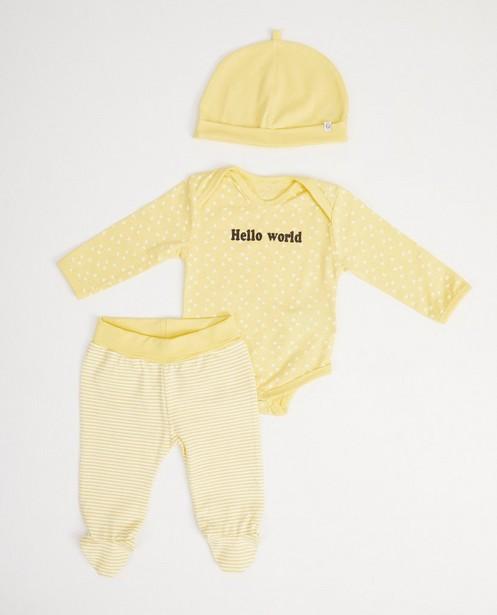 Set jaune en coton bio - 3 pièces - Newborn