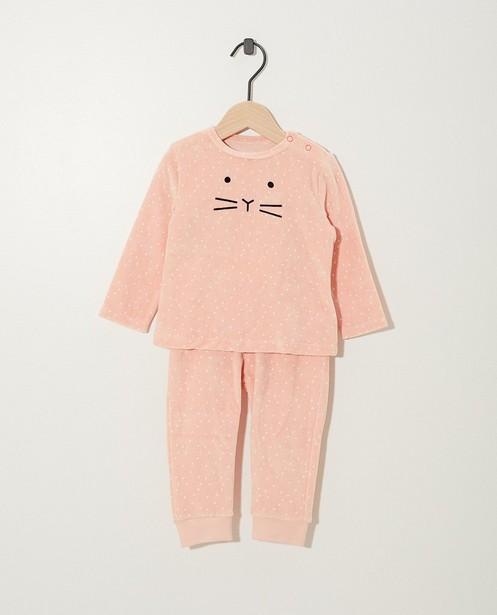 Pyjama rose en velours  - triangles - JBC