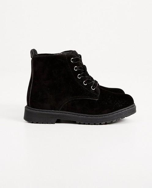 Zwarte fluwelen laarzen, 27-32 - met fluwelen veters - Milla Star