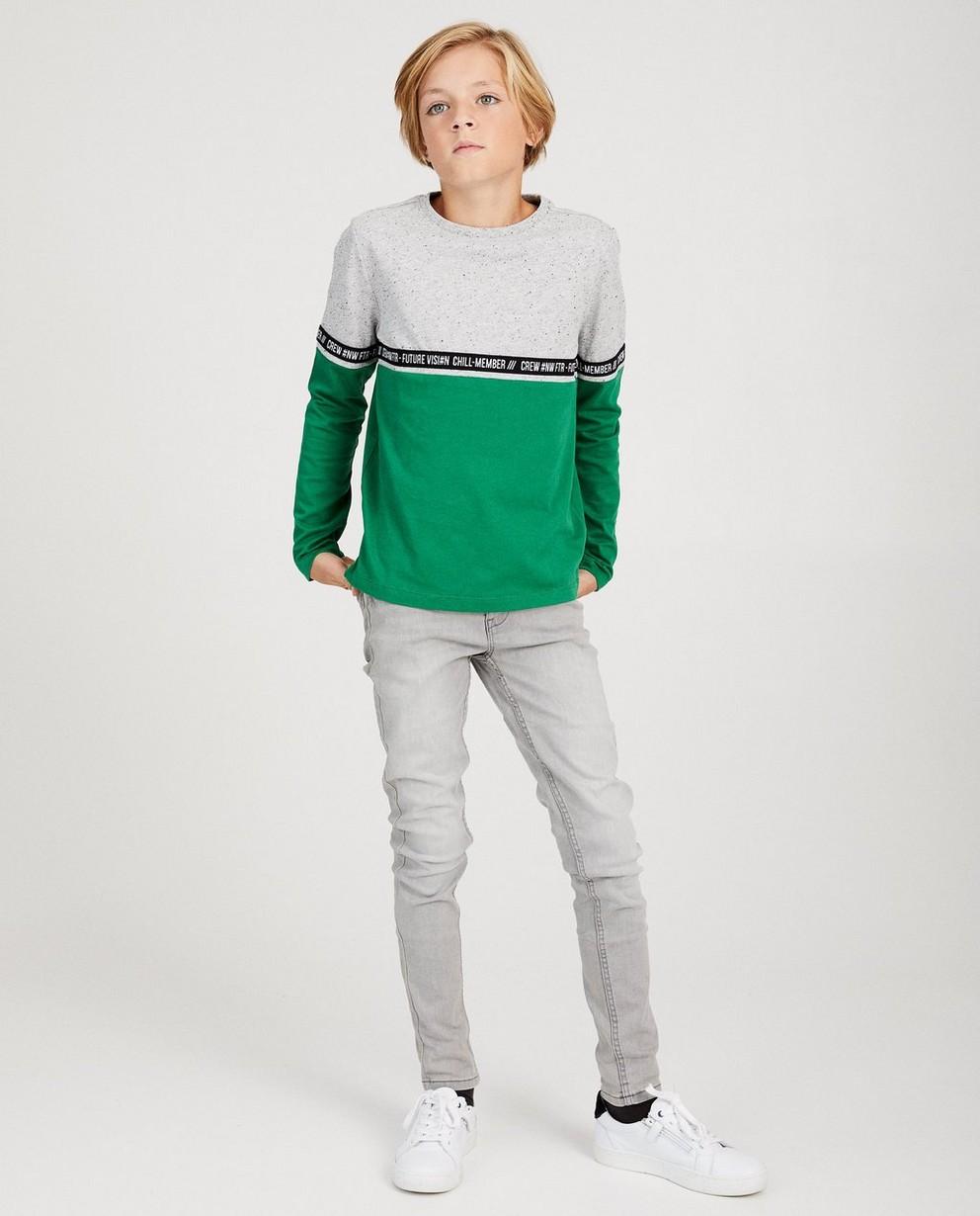 T-shirt à manches longues - color block vert et gris - fish