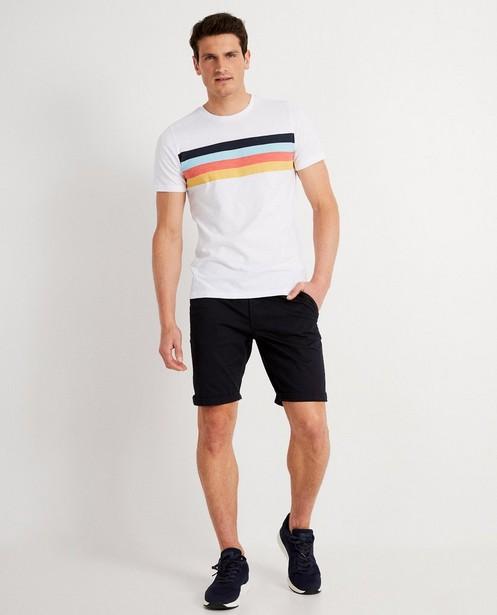 Wit T-shirt met strepenprint - op de borst - JBC