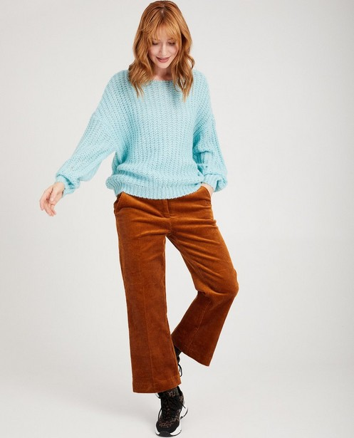 Lichtblauwe trui Karen Damen - van grove brei - Karen Damen