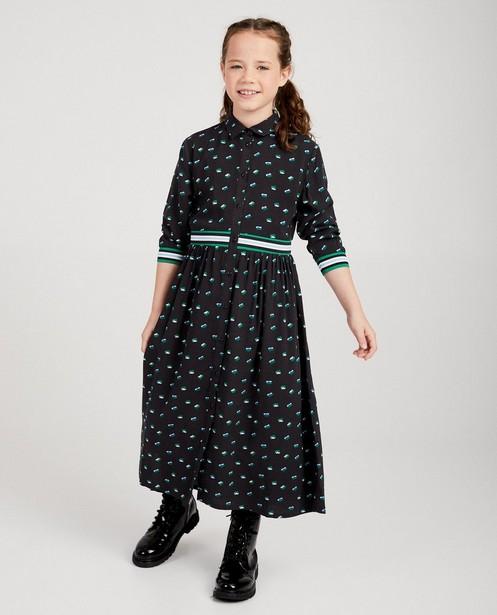 Grijze jurk met bloemenprint - met elastische tailleband - JBC