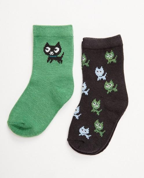 Set: 2 paar babykousjes met katjes - in groen en grijs - JBC