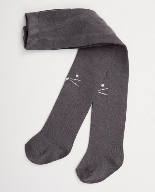 Chaussettes - Collant gris foncé avec un chat
