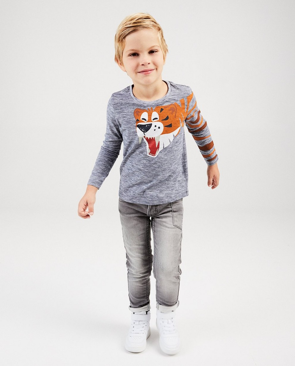Grijze T-shirt met tijger - strepen - kidz