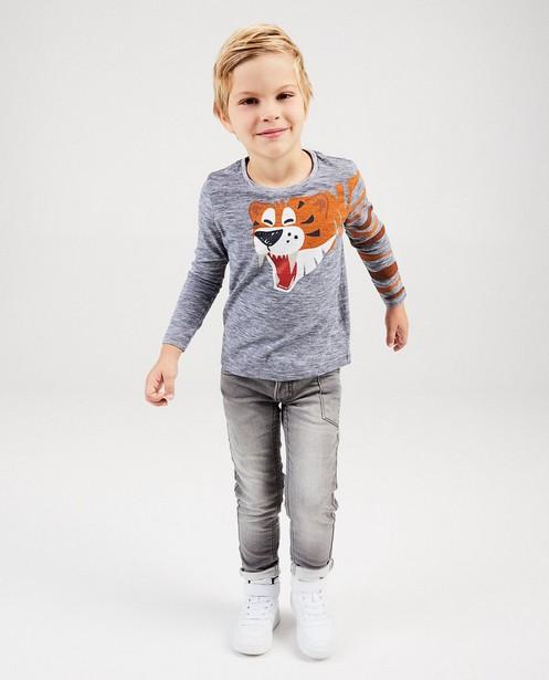 T-shirt gris avec un tigre - rayures - kidz