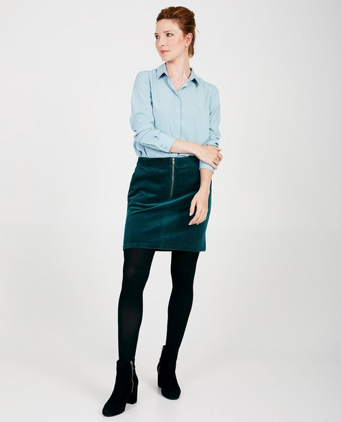 Blauwgroene rok van ribfluweel Sora - Allover - Sora