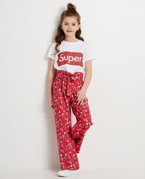 Pantalon rouge Ella Italia - imprimé fleuri - elle