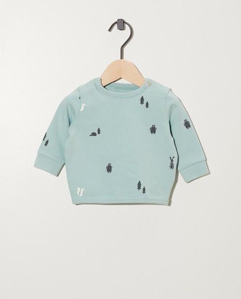 Sweater van biokatoen met print - in lichtblauw - Newborn