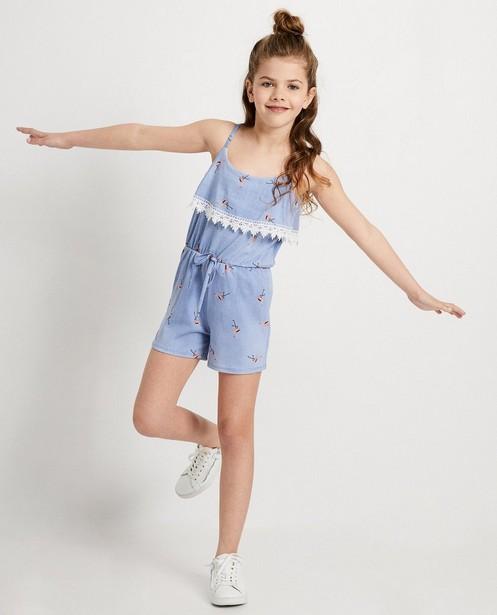 Lichtblauwe jumpsuit Ella Italia - met kant - elle