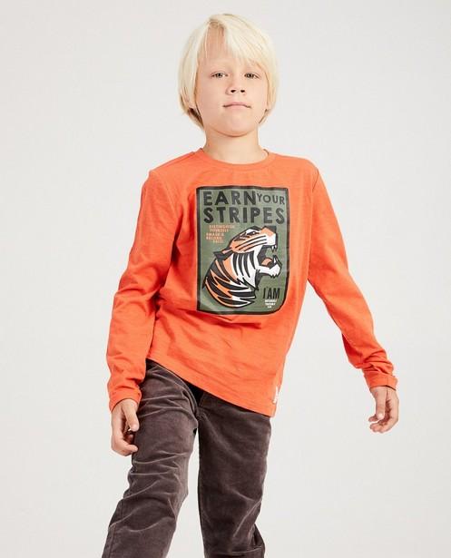 T-Shirts - Knallorange - Longsleeve van biokatoen I AM