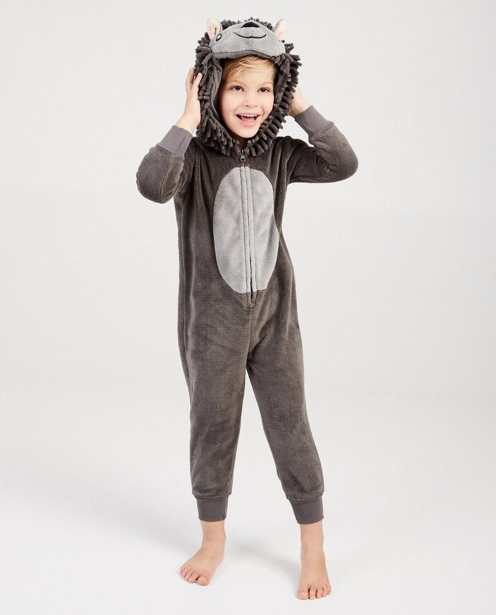 Antracietgrijze egel onesie - faux-fur - JBC NL