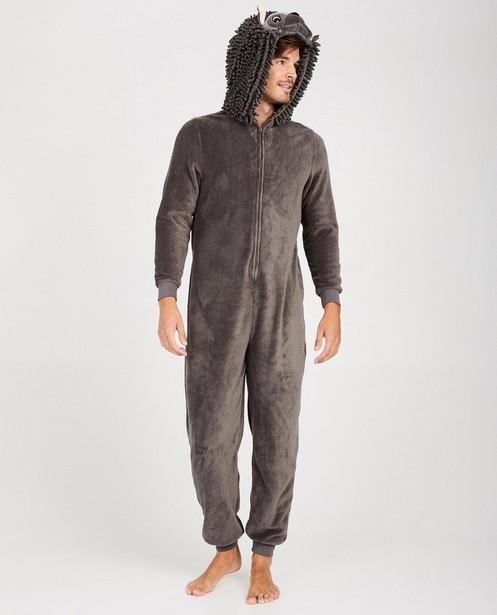 Donkergrijze egel onesie - faux-fur - JBC