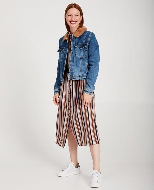 Veste en jeans Karen Damen - bleue et brune, fourrure - Karen Damen