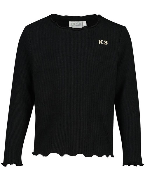 Zwarte longsleeve met ribreliëf K3 - allover - K3