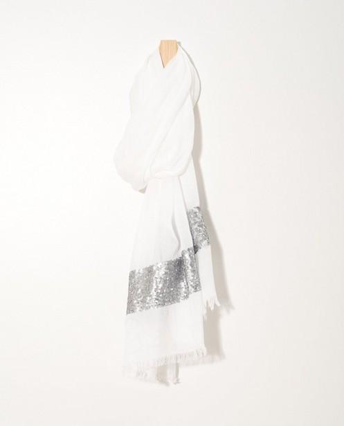 Écharpe blanche Sarlini - bande à paillettes - JBC