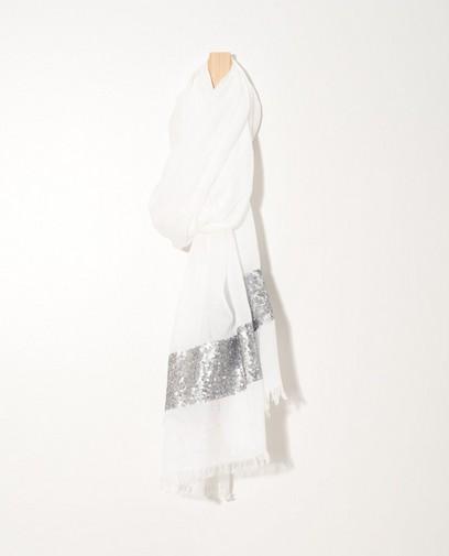 Witte sjaal met pailletten Sarlini