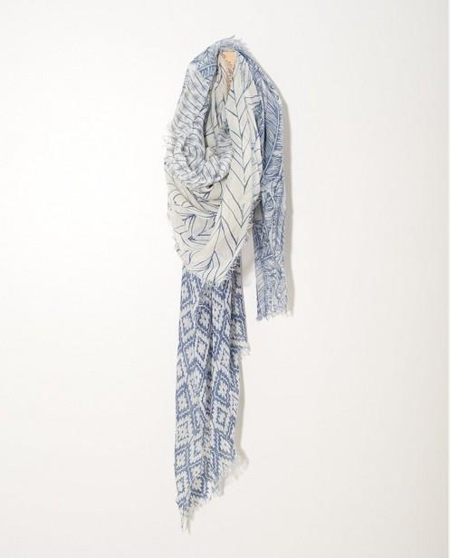 Écharpe bleue et blanche Sarlini - imprimé intégral - JBC