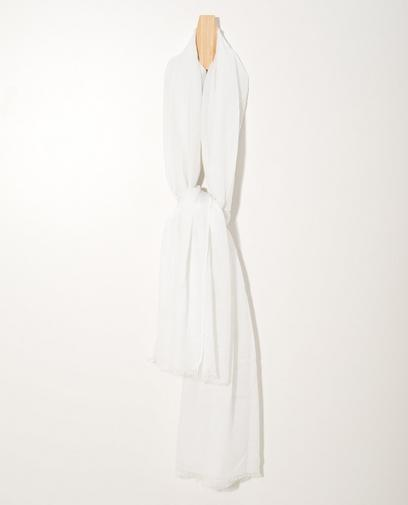 Glanzende witte sjaal Sarlini