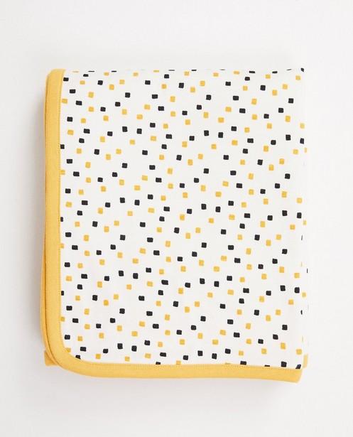 Okergele deken in biokatoen - twee kanten - cudd