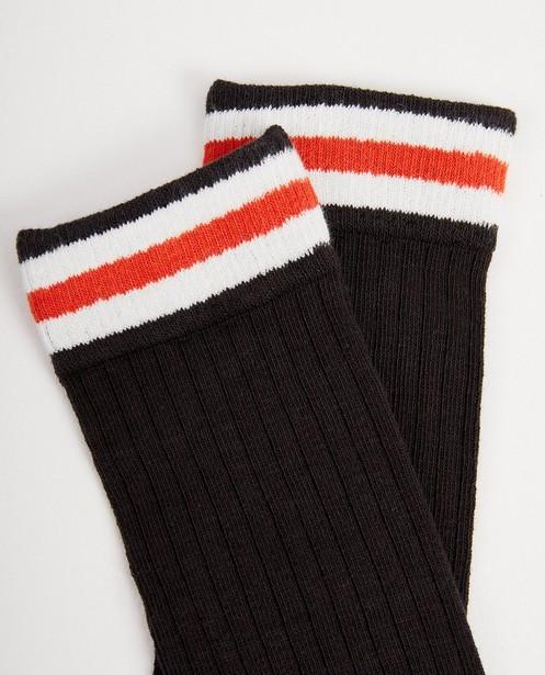 Chaussettes - Mi-bas gris à relief côtelé