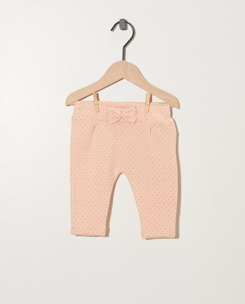 Roze broekje met grijze x-print - met strikje - Newborn