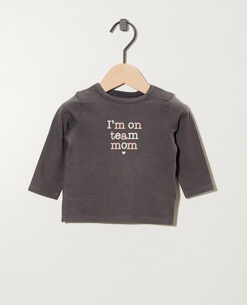 T-shirt gris à manches longues - inscription, en 2 couleurs - Newborn