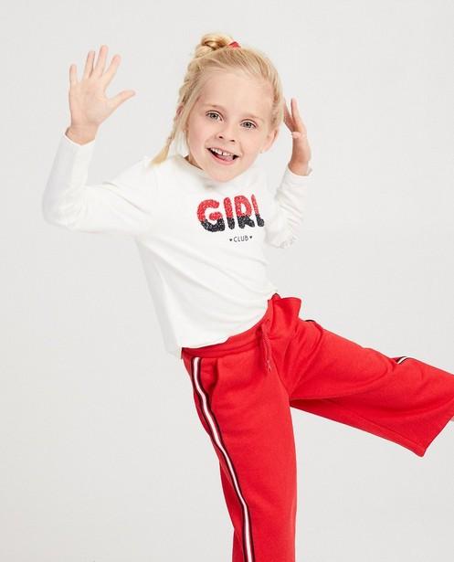 T-shirt blanc à longues manches - inscription rouge et bleue - Milla Star