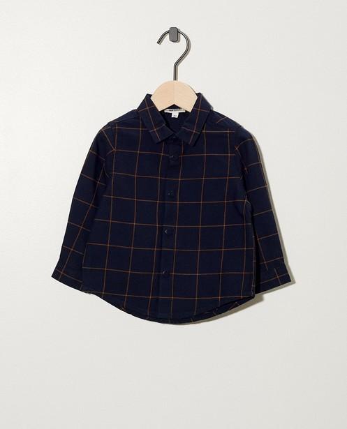 Donkerblauw hemd met cognac ruiten - rasterpatroon - cudd