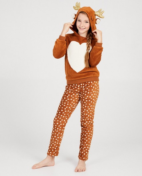 Pyjama brun, petits cerfs - blancs - fish