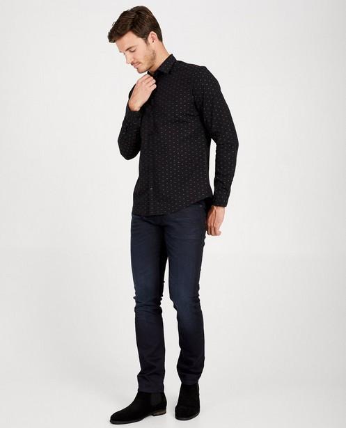 Zwart hemd met print - allover - Iveo