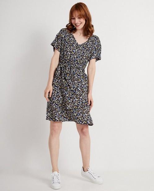 Donkerblauwe jurk met print - allover - JBC