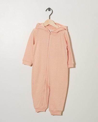 Roze jumpsuit met print
